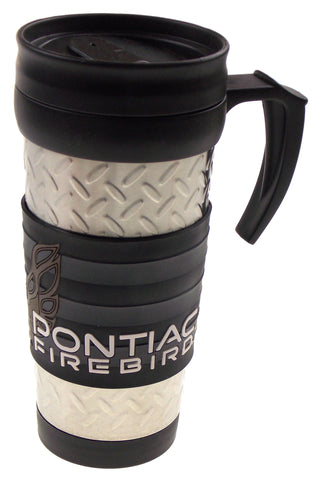 GM 1967 Pontiac Firebird '77 Travel Coffee Mug Silver Black Gray Car Auto Rubber - FUNsational Finds - 1