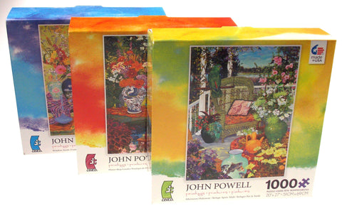 Ceaco John Powell Paintings Jigsaw Puzzles 1000 Pc Set 3 Made USA 20x27 Flower