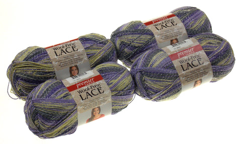 Premier Yarns Wool Free Lace Geode Lot 4 Skeins Purple Yellow Gray Acrylic Knit