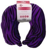 Neck Support Air Travel Pillow Soft Plush Purple Zebra Print U Shaped EZ Dreams - FUNsational Finds - 1