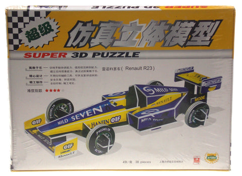 "Super 3D Renault R23 Formula 1 Race Car Blue Colored Puzzle 15"" Long Foam Model"