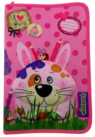 Okiedog Wildpack 3D Pencil Case Pippa Rabbit Pink Zippered Pouch School Supply - FUNsational Finds - 1