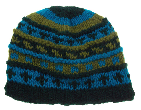 Earth Ragz 100% Wool Rolled Beanie Lined Winter Hat Soft Warm Blue Green Black