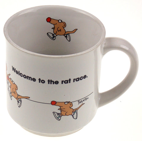 White Coffee Cup Cartoon Rats Welcome To The Rat Race - FUNsational Finds - 1