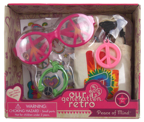 "Our Generation Retro Peace of Mind 18"" Doll Accessory Glasses Bracelet Necklace"