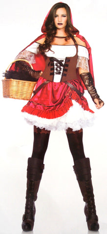 Leg Avenue Rebel Red Riding Hood Large Sexy Halloween Costume Dress Cape 85445 - FUNsational Finds - 2