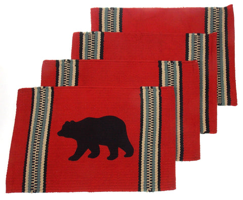 "Bear Silhouette Placemats Set 4 Red 12"" x 18"" Rustic Lodge Virah Bella Cotton"