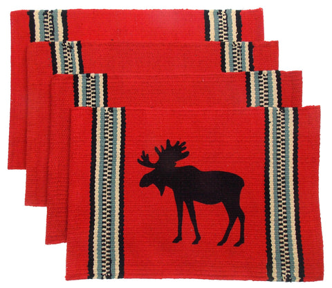 "Moose Silhouette Placemats Set 4 Red 12"" x 18"" Rustic Lodge Virah Bella Cotton"