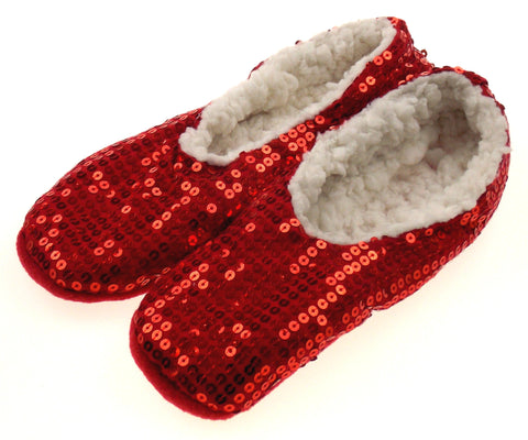 Capelli New York Red Sequin Slipper Socks with Gripper Fuzzy Slip On Choice Size