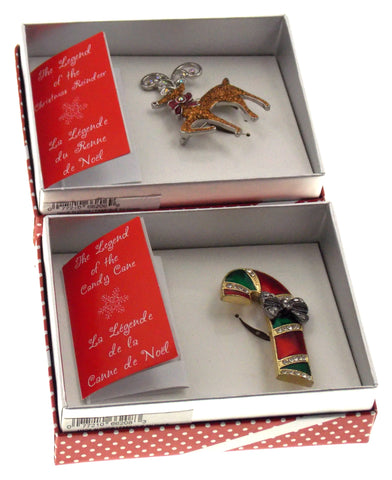 Action Alley Broach Pin Set of 2 Legend of the Christmas Reindeer Candy Cane