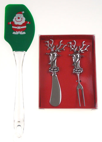 Reindeer Spreader Knife Fork Green Silicone Spatula Santa Set 3 G For Gifts Xmas - FUNsational Finds - 1
