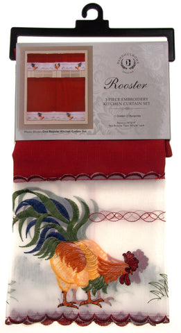 ... Rooster 3 Pc Embroidered Kitchen Curtain Set Dahdoul Home Burgundy  Valance Tiers