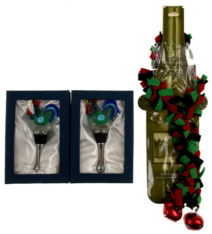 Rooster Glass Metal Wine Stopper Decoration Set 3 Artistic Creations Hand Made - FUNsational Finds - 1