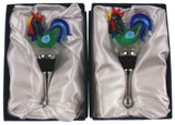 Rooster Glass Metal Wine Stopper Decoration Set 3 Artistic Creations Hand Made - FUNsational Finds - 3