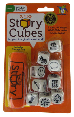 Gamewright Rory's Story Cubes Original Orange Set 9 Cubes 54 Images Storage Bag