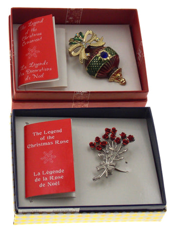 Action Alley Fashion Broach Pin Set of 2 Legend of the Christmas Ornament Rose