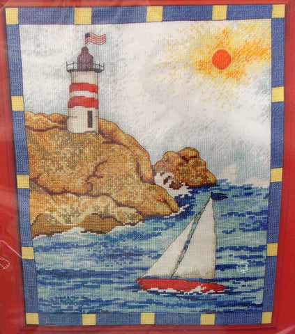Plaid Bucilla Sailboat Counted Cross Stitch Kit 45955 Lighthouse Sea Sun US Flag - FUNsational Finds - 1