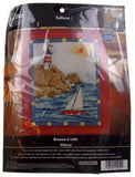 Plaid Bucilla Sailboat Counted Cross Stitch Kit 45955 Lighthouse Sea Sun US Flag - FUNsational Finds - 2