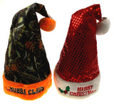 Lot 2 Santa Hats Adult Merry Christmas Mrs Bubba Claus Camo Sequin Holiday Party - FUNsational Finds - 1