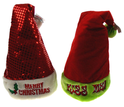 Lot of 2 Santa Hats Adult Merry Christmas Kiss Me Sequins Holiday Office Party - FUNsational Finds - 1