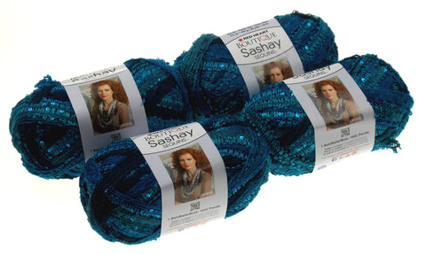 Red Heart Yarn Lot of 4 Skeins Balls Boutique Sashay Sequins Mediterranean Blue