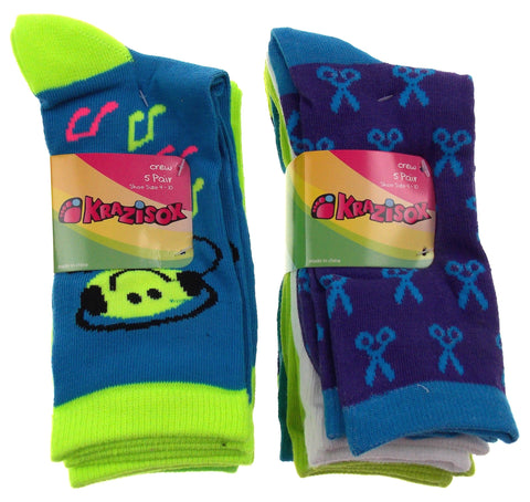 10 Pairs Crew Socks Krazisox Women Size 4-10 Scissors Hearts Smiley Music Notes - FUNsational Finds - 1