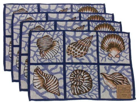 Set 4 Placemats Nautical Ocean Seashell Shell Theme 13x19 Kitchen Table Fabric