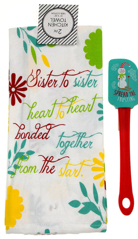 Kitchen Towels Sister Gift 15x25 Spread The Frosting Snowman Spatula Chevron Set - FUNsational Finds - 1