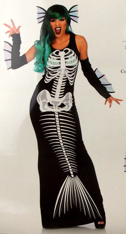 Leg Avenue Skeleton Siren Dress Head Piece Sexy Halloween Costume 86690 Xray