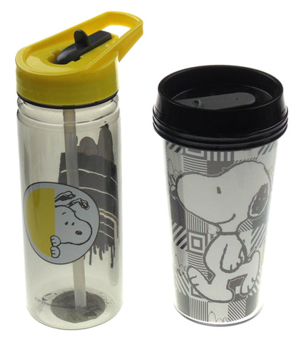 Peanuts Snoopy Water Bottle & Coffee Tumbler Set Straw Lid Flip Top Plastic Lot