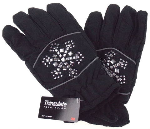 Joe Boxer Womens Black Gloves Silver Snowflake 3M 40g Thinsulate Snow Winter NEW - FUNsational Finds - 1