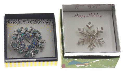Action Alley Fashion Broach Pin Set of 2 Snowflake & Wreath Angel Box Holiday