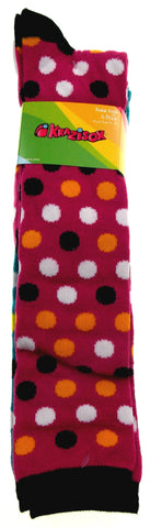 Krazisox Set of 4 Pairs of Socks Polka Dots Solid Knee High Womens Size 4-10 - FUNsational Finds - 1