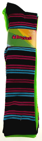 Krazisox Set of 4 Pairs of Socks Stripes Solid Green Knee High Womens Size 4-10 - FUNsational Finds - 1