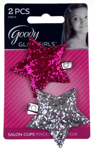 Goody Glam Girls Set of 12 Salon Clips Pink Silver Large Glitter Star Sparkle - FUNsational Finds - 1