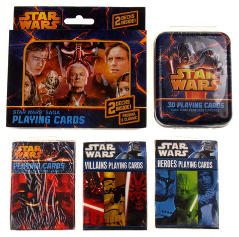 Star Wars Playing Cards Tins Saga 3D Heroes Villians Story Darth Vader Lot of 5 - FUNsational Finds - 1
