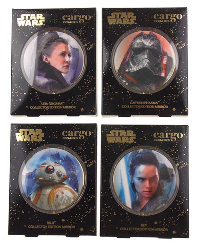Star Wars Cargo Cosmetics Collector Edition Compact Mirrors Set 4 Leia Rey BB-8