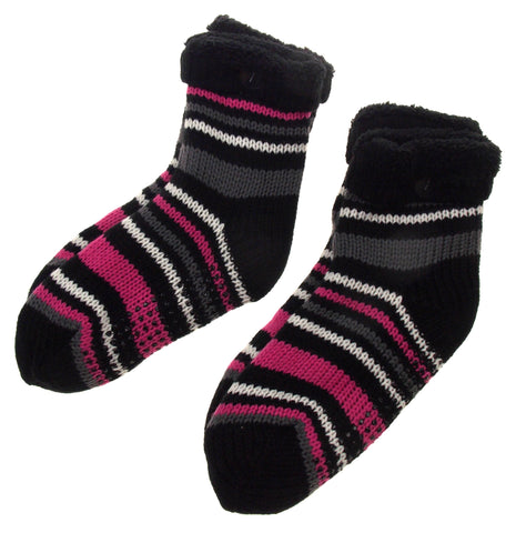 Black White Gray & Pink Striped Slipper Socks Lot 2 Grippers One Size Faux Fur