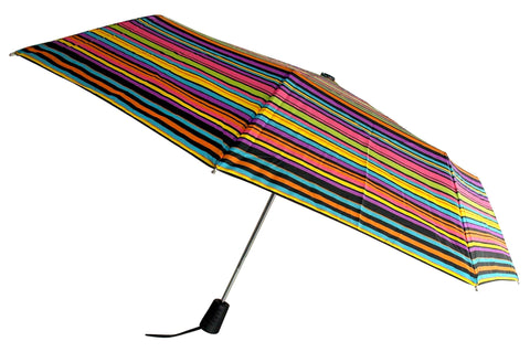 "Totes Umbrella Stripes Auto Open 42"" Rain Sun Travel Compact Mini Folds - FUNsational Finds - 1"