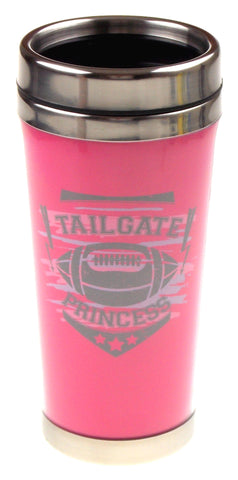 Pink Tailgate Princess Football Coffee Travel Mug 15 oz Stainless 3 K cup Lot - FUNsational Finds - 2