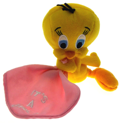 Looney Tunes Tweety Bird Bean Bag Plush Stuffed Animal Toy It's a Girl Blanket - FUNsational Finds - 1
