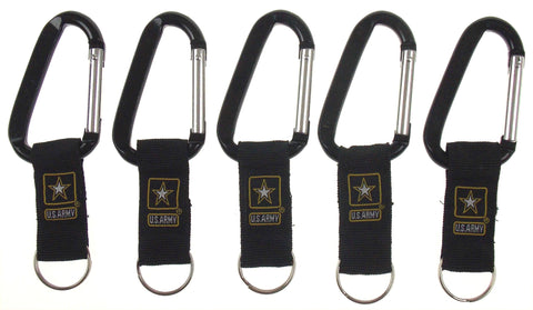Lot 5 US Army Carabiner Logo Keychain Black Key Holder Fob Military Clip Belt - FUNsational Finds - 1