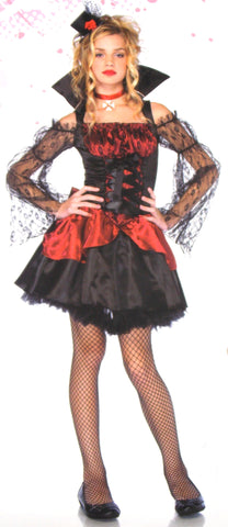 Leg Avenue Victorian Gothic Vampire Jr M/L Halloween Costume Cosplay Dress Bow - FUNsational Finds - 1