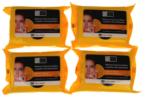 Global Beauty Care Makeup 120 Cleansing Wipes Lot 4 Packages Vitamin C Extract