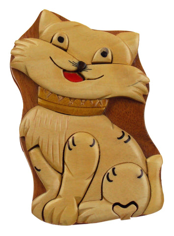 Handmade Carved Cat Intarsia Wood Puzzle Box Secret Storage Vietnam