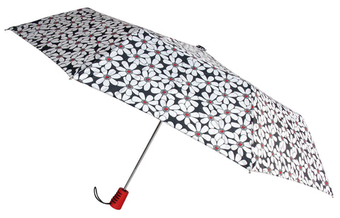 "Totes Automatic Umbrella 42"" White Flower Auto Open Rain Sun Travel Compact Mini - FUNsational Finds - 1"