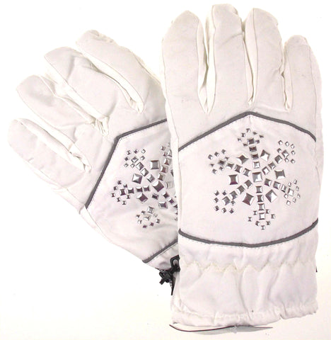 Joe Boxer Womens White Gloves Silver Snowflake 3M 40g Thinsulate Snow Winter NEW - FUNsational Finds - 1