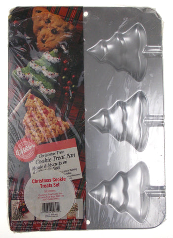Wilton Christmas Tree Cookie Treat Pan Decorate Holiday Stick Treats Gifts Metal
