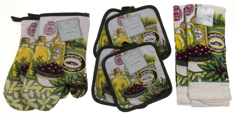 Olive Oil Olives Oven Mitt Gloves Pot Holders Towels Set 8 Kitchen