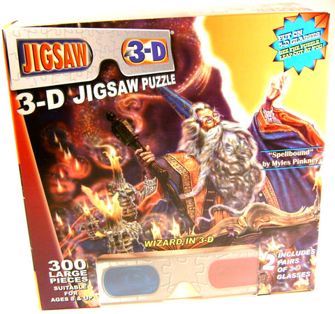 Wizard 300 Pc Jigsaw Puzzle 2 Pair 3D Glasses TDC Spellbound Myles Pinkney 19x26 - FUNsational Finds